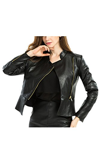Moto completo con de cuero larga de chaqueta Manga de mujer PU cremallera 8ZgWRT