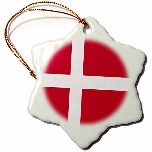 3dRose ORN_158282_1 Flag Denmark Danish Red Dane White Scandinavian Cross Scandinavia European World Country Snowflake Ornament, Porcelain, 3-Inch