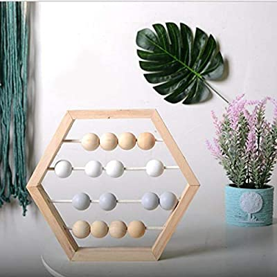 LPER Puzzles Toys for Kids, Puzzle Toy Natural Wooden Abacus Beads Craft Baby Early Learning Educational Toys Baby Room Decor(Wood White Silver) (Color : Wood White Grey): Electronics