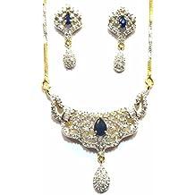 Shingar Jewelry Ksvk Jewels Cubic Zirconia (CZ) Tanmania Pendant Set For Women (9953-psad-blue)
