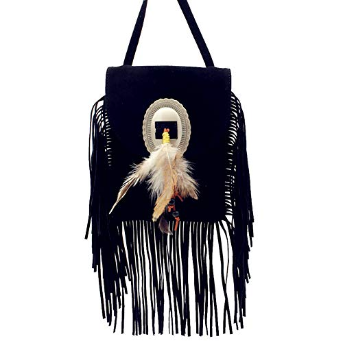 Bag Black Crossbody Western West Fringe Feather With Leather Texas Color In Suede Multi ZwR6q68