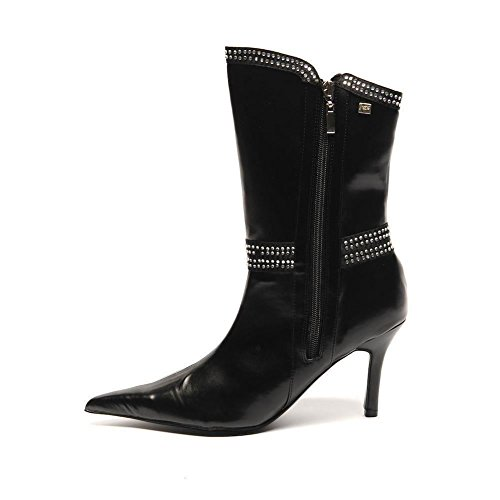 Size 37 568 Boots Sb Diamante Leather Uk Faux Heel Zip Black Unze Double 4 8qTwzq