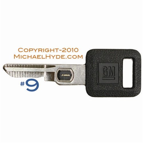 595519 GM VATS Key - Single Sided #9 Strattec, Buick, Cadillac, Chevy, Olds, Pontiac (Vats Gm Key)