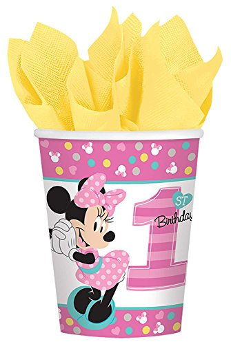 1st Birthday Minnie Mouse 9 oz Paper Cups 8 count Party Supplies Minnie Fun to be One!]()