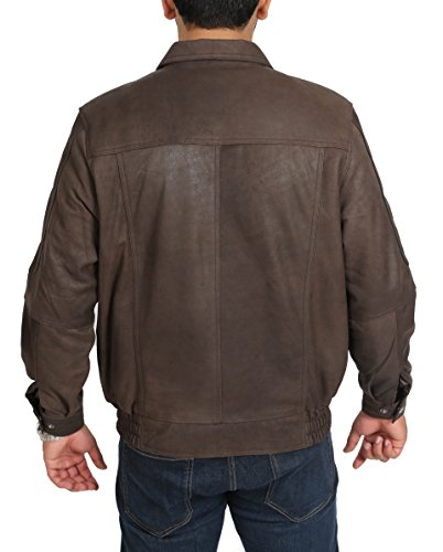 Bomber Classico Nubuck Cappotto Pelle Gents Stile Jim Uomo Blouson Marrone wxpSHqS