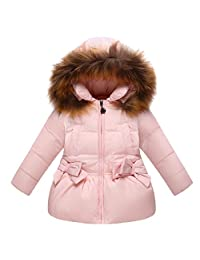 Girls Winter Down Coat Fur Trim Hooded Puffer Jacket with Bowknot Pockets
