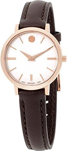 Movado Ultra Slim Silver Dial Leather Strap Ladies Watch 0607096