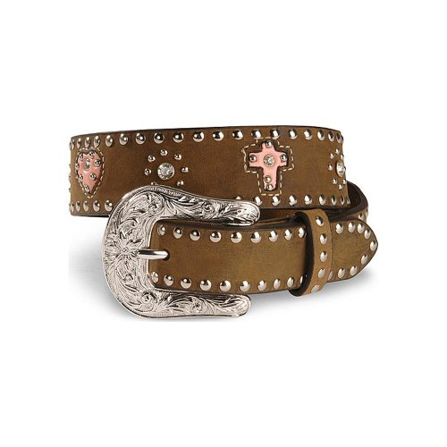 Nocona Girls' Cross And Heart Leather Belt