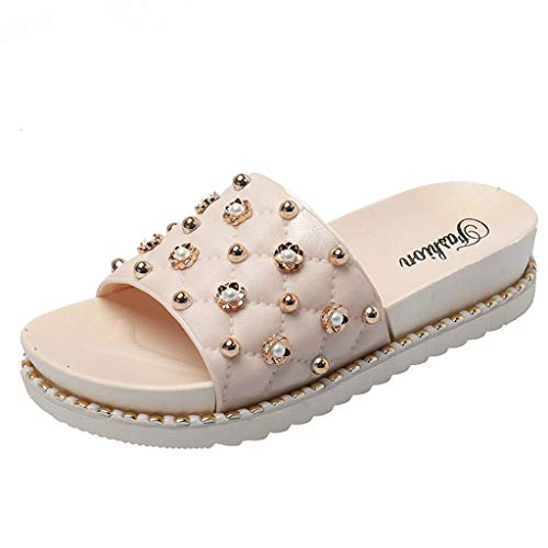 (MmNote Shoes, Women's Stylish Trendy Comfortable Summer Rivets Casual Beach Slippers Sandals Shoes Beige)