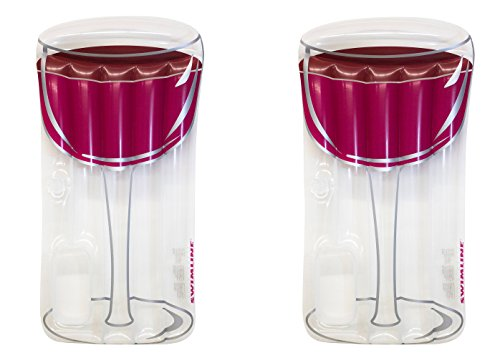 Swimline Inflatable Red Wine Glass Raft Float for Pool or Beach (2 Pack) -