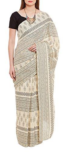 Women's Indian Warli Print Art Saree Cotton Set of 3 Sari Blouse Petticoat Skirt,W-CSR0332-5003 by ShalinIndia
