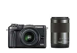 Canon EOS M6 Twin Kit with EF-M 15-45mm IS STM & EF-M 55-200mm IS STM Compact System Camera(M6TKISB) 3 Inch Display,Black (Australian warranty)