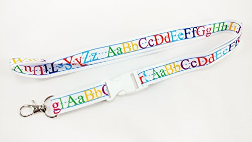 Teachers Alphabet white lanyard/keychain with clip for keys or id badges. Perfect for teachers of all grades (1)