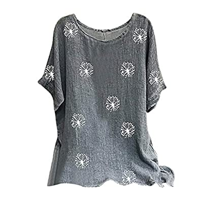 Woman Plus Size Tops Vintage Cotton-Blend O-Neck Short Sleeve Floral Print Top T-shirts Blouse Fainosmny at  Women's Clothing store