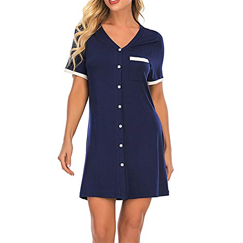 Pajamas for Women Short Sleeve Women's Button Down Sleepwear Classical Sleep Shirt Dress Blue XXL