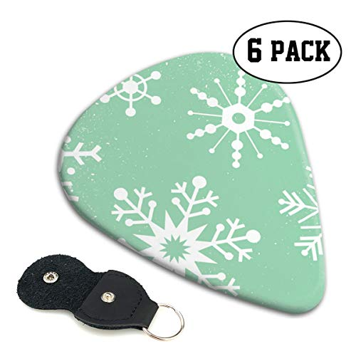 Winter Snowflakes Mint Ultra Light 0.46 Medium 0.71 Heavy 0.96mm Printed Round Flat Celluloid Jazz Electric Acoustic Bass Guitar Pick Ccessories Variety Pack Pocket