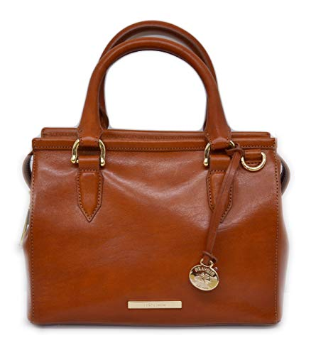 (BRAHMIN MINI SCHOONER TOPSAIL HANDBAG HONEY GENUINE LEATHER)