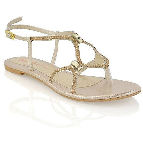 ESSEX GLAM Damen Flache Riemchen Sandalette Strasssteine Zehentrenner Slingback Sandalen Gold