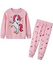 FILOWA Trainingspak voor jongens en meisjes, sportpak voor kinderen, katoen, cartoonprint, pullover, sweatshirts en broek, outfit, kledingset, uniseks, leeftijd 2-7 jaar, roze-B, 4-5 Jaren