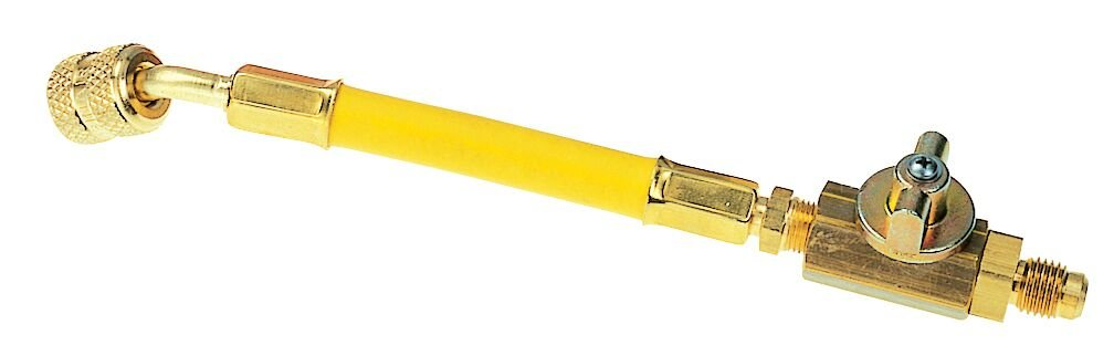 Robinair 18513 Yellow Flexible 6' A/C Hose Adapter w/Shut-Off Valve - 1/4' MFL x 1/4' FFL