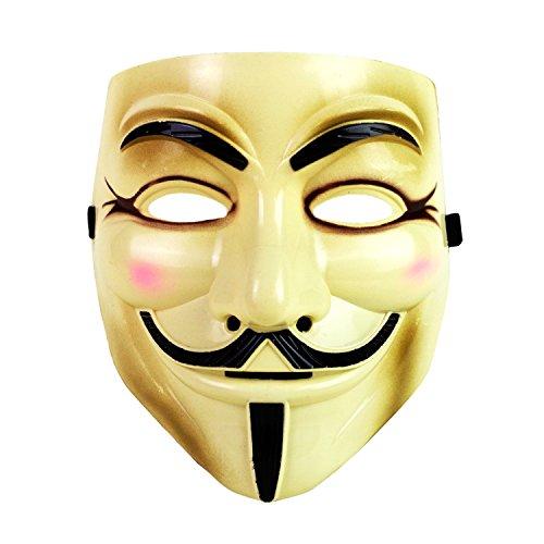 Guy Fawkes Mask Halloween Costume V for Vendetta (Beige)