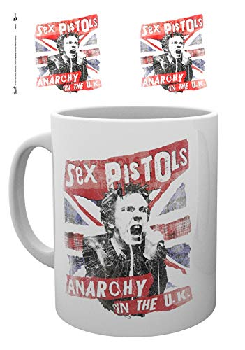 Set: Sex Pistols, Union Jack Photo Coffee Mug (4x3 inches) And 1x 1art1 Surprise Sticker -