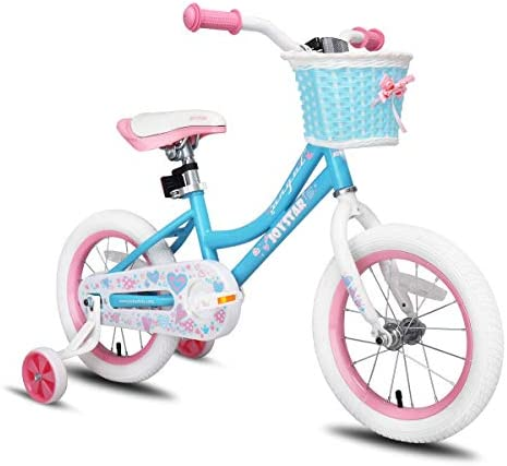 JOYSTAR Girls Bike with Training Wheels for 12 14 16 Inch Bike, Kickstand for 18 Inch Kids Bike, Kids Cruiser Bicycle for 2-9 Years Old Girls