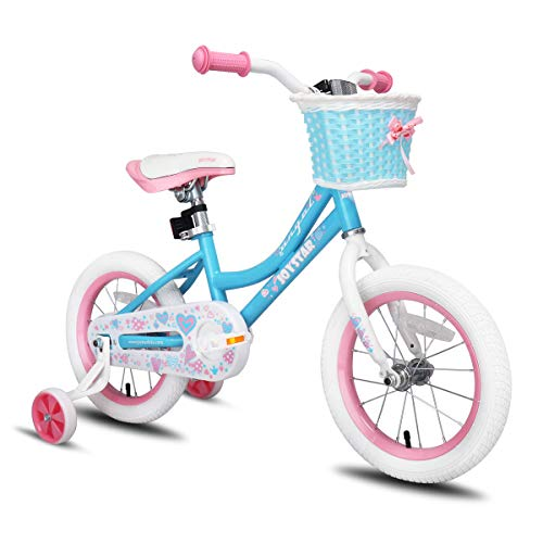 JOYSTAR 14 Inch Kids Bike for Girls with Training Wheels & Basket for 3 4 5 6 Years Kids, Child Bicycle with Basket, Children Cycle, Sky Blue
