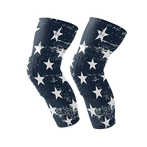 Anyangquji Grunge Pattern with Stars Kneepads Sport Protector Compression One Piece Anti-Slip Knee Brace for Men&Women (1 Pair)
