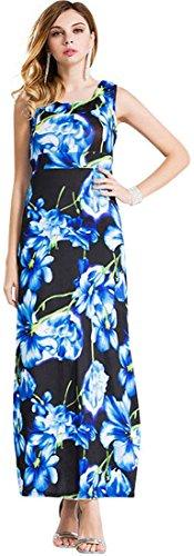 Jeansian Design floral de las mujeres sin mangas maxi largo del vestido 3 Colors WHS092 Blue