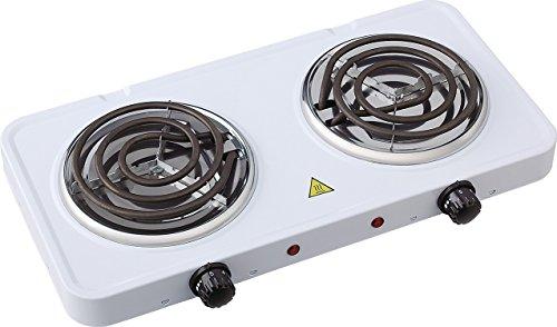 Uniqueware Double Burner Portable Buffet Range, (Double Burner, White) - Double Buffet Range