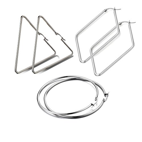 Flongo 6PCS Pack of Stainless Steel Big Large Round Triangle Rhombus Shape Shape Plain Anti-allergy Hoop Loop Earrings