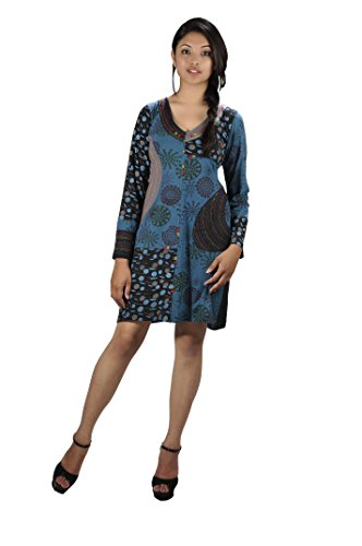 Ladies LONG SLEEVED DRESS WITH EMBROIDERY IN NECKLINE -MAGNOLIA L (LIGHT BLUE-2008-L)US