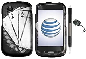 Quaroth Lucky Black Silver Aces 4 Of A Kind Design Protector Hard Cover Case for ZTE Avail Z990 (AT&T) + Luxmo Brand Travel...