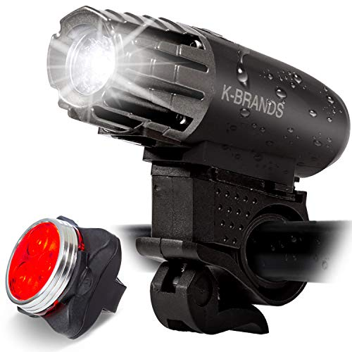 K-Brands Bike Light Set - USB Rechargeable Front and Back LED Headlight & Tail Light - Bright Bicycle Flashlight Best Road Safety Lighting for Night Cycling - Fits All Bikes