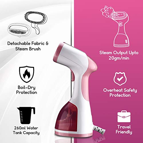 Inalsa Steamax 1200W Garment Steamer 260ml Capacity White Pink best price deals offers
