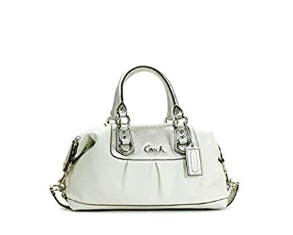 6450f0e8e Image Unavailable. Image not available for. Color: Coach Two-Tone Leather  Sabrina Ashley Large Satchel Bag 15447 White/Silver