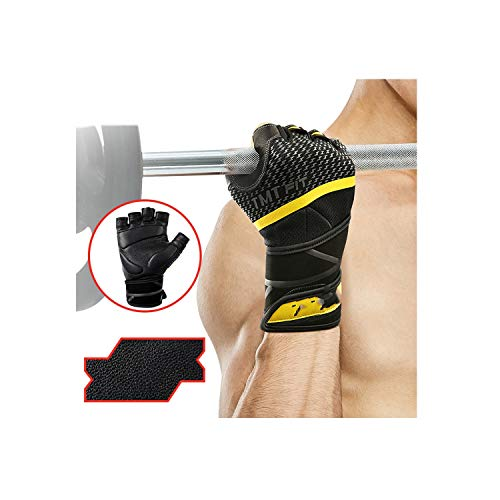 Voic-A Leather Gym Gloves Weight Lifting Fitness Gloves Non Slip Breathable Long Wrist Wrap