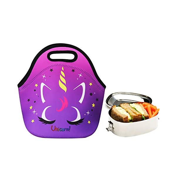 Cute Unicorn Lunch Bag for Kids, Waterproof Insulated Neoprene Lunch Tote with Zipper for School Work Outdoor (Purple002… 13