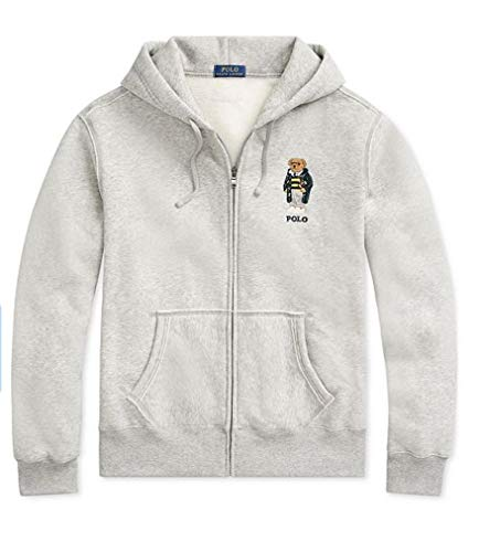 Polo Ralph Lauren Boys Fleece Hoodie Sweatshirt Bear Gray