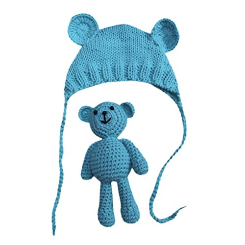 Sharemen Knit Costume, Baby Girl Boy Photography Crochet Bear Hat Set