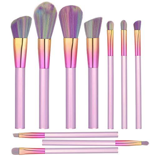 ITME [Upgrade Version] Premium Makeup Brush Set Synthetic Cosmetics Professional Crystal Acryl Handle Brush, Kabuki Foundation Blending Brush Midsummer Night Dream Makeup Brush Kit (10pcs, Pink)