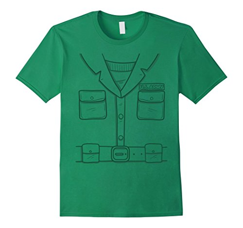 Mens Green Plastic Army Man Halloween Costume T-Shirt Medium Kelly (Army Face Paint Costume)