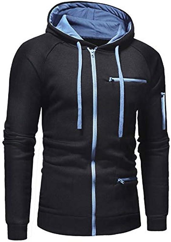 Xmiral męska kurtka z kapturem, jednokolorowa, zamek błyskawiczny z długim rękawem, sportowy płaszcz z kapturem, outwear: Odzież