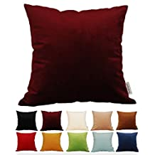 """TangDepot® Solid Velvet Throw Pillow Cover/Euro Sham/Cushion Sham, Super Luxury Soft Pillow Cases, Many Color & Size options - (20""""x20"""", Burgundy Wine)"""