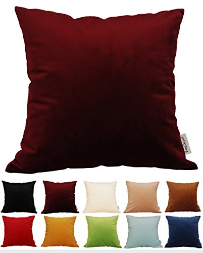 "TangDepot Solid Velvet Throw Pillow Cover/Euro Sham/Cushion Sham, Super Luxury Soft Pillow Cases, Many Color & Size options - (18""x18"", Burgundy Wine)"