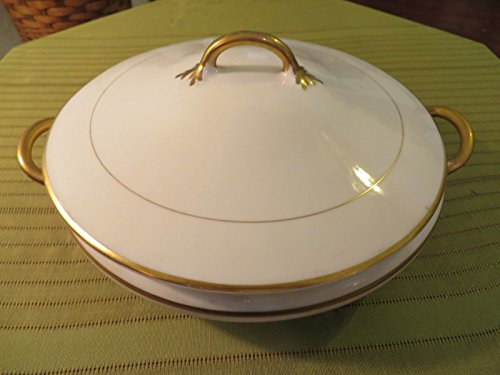 "Vintage POPE-GOSSER Vegetable Bowl or Casserole Dish w Lid 9"" Diameter PRETTY"