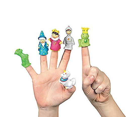6 ~ Fairy Tale Finger Puppets ~ Approx. 2'' ~ Vinyl ~ New ~ Cupcake Toppers, Princess Party Favors