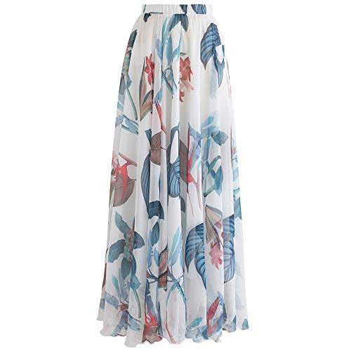 (Chicwish Women's Tropical Floral Watercolor White Flower Maxi Floral Chiffon Slip Skirt )