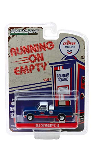 1968 Chevrolet C-10 Chevron Pickup Truck Blue and Red with White Top Running on Empty Series 7 1/64 Diecast Model Car by Greenlight 41070 C ()